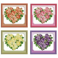 Розовое Сердце Шаблоны Счетный Крест Стежка 11CT 14CT Вышивка Крестом Наборы Оптовые Цветы вышивка крестом Наборы для Вышивания Рукоделие