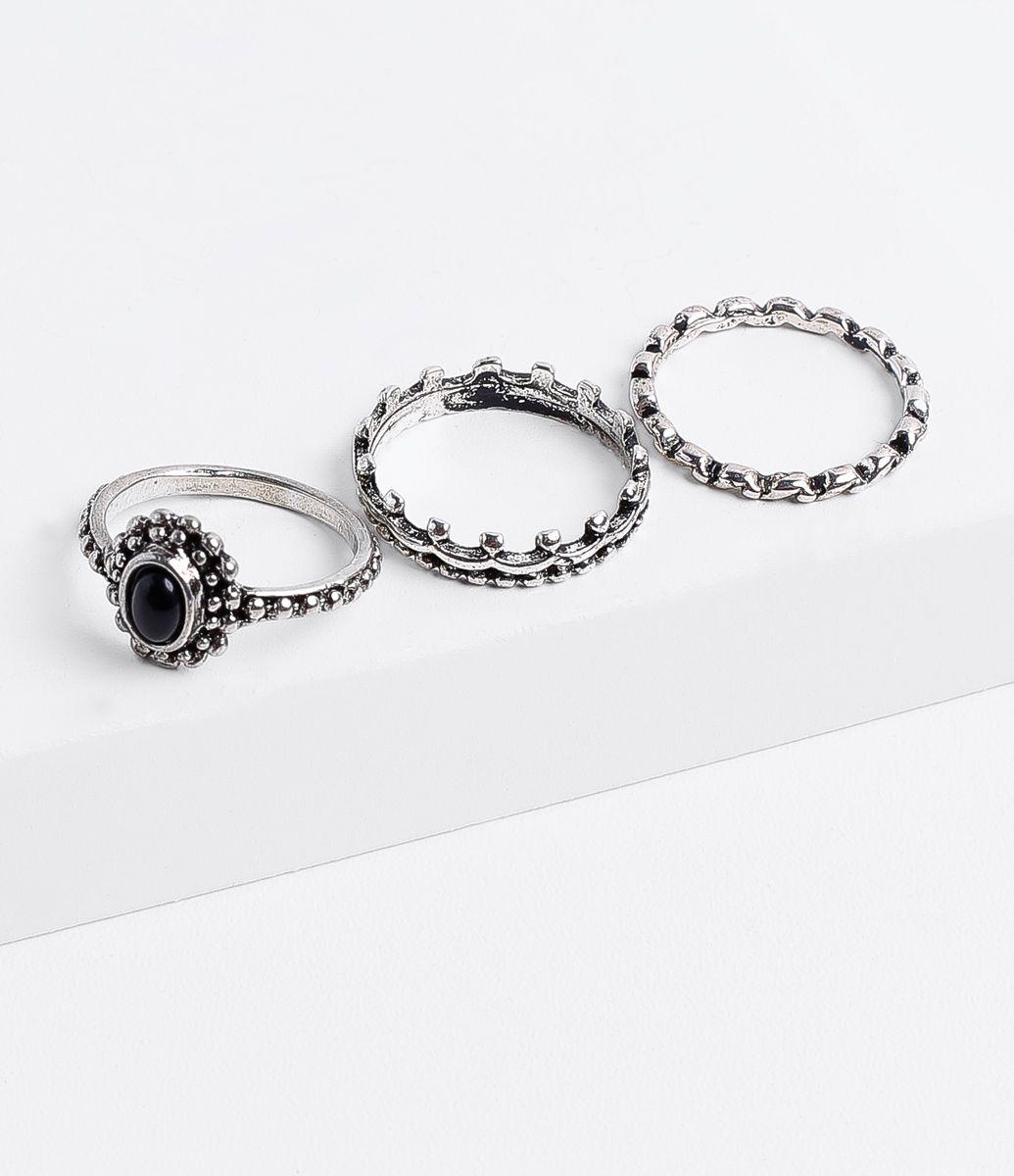 b46e95332f56c Anel de bijuteria Kit com 3 peças Modelo aliança Com pedra preta Marca   Accessories Material