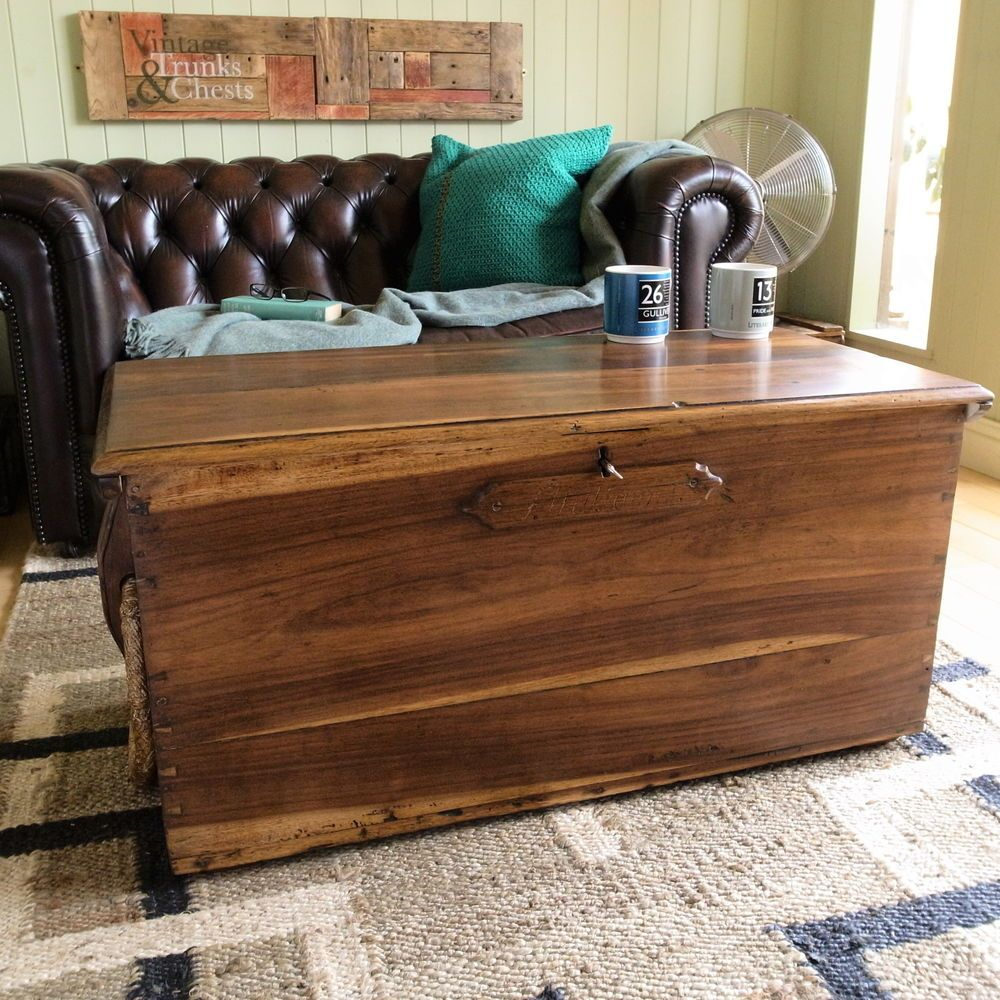 Antique Mahogany Sea Chest Trunk Coffee Table Blanket Box Vintage Rustic Country Trunks And Chests Blanket Box Coffee Table Trunk [ 1000 x 1000 Pixel ]