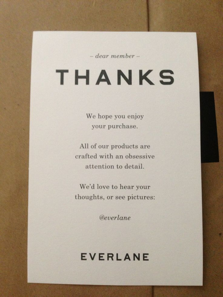Thank you note fro Everlane in parcel. | Packaging for Etsy