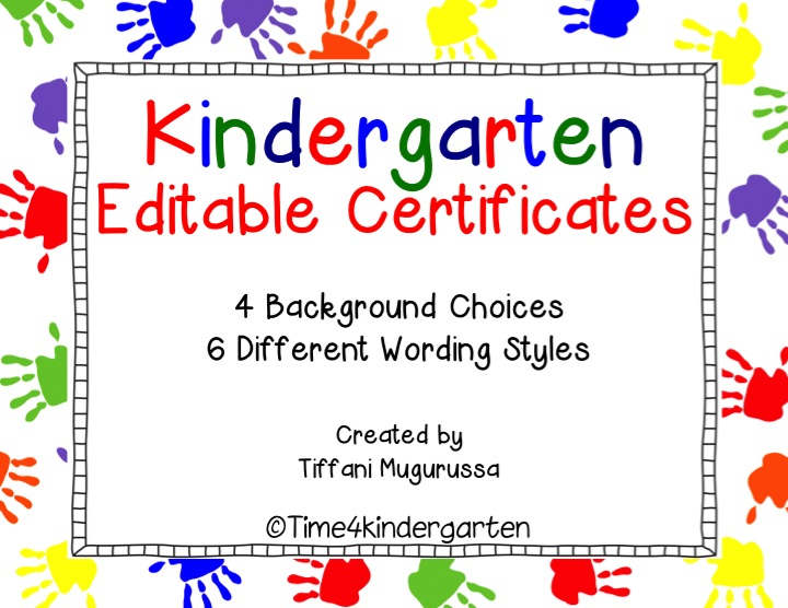 kindergarten certificates completion diploma editable kinderland