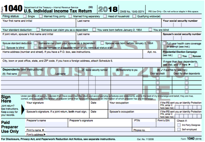 Which Tax Form To File Now That 1040a 1040ez Are No Longer Used