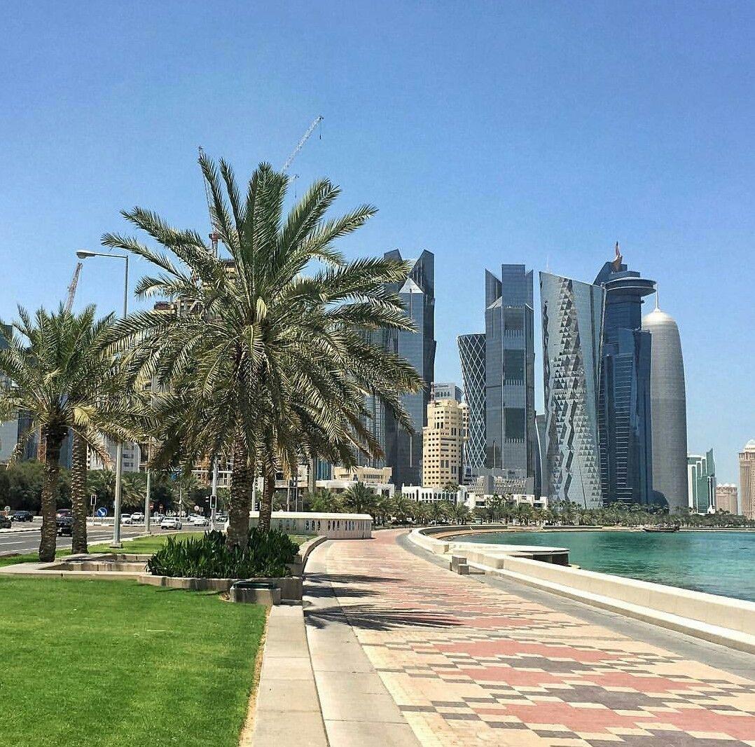 The Doha Corniche Qatar The Doha Corniche Is A Waterfront Promenade Extending For Several Kilometers Along Doha Bay In The Qatar Travel Trip Landscape Design