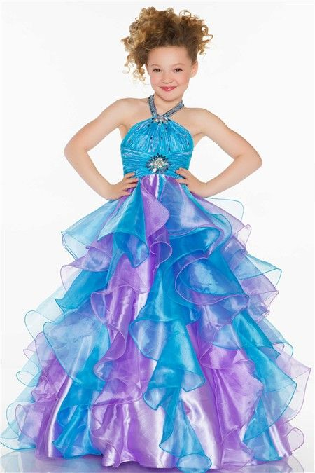 da2857ce7f8 Ball Gown Halter Long Turquoise Purple Organza Ruffle Little Girl Prom Dress