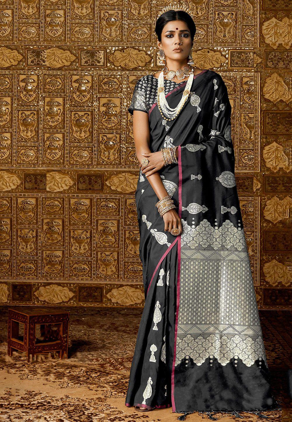 556849103 Buy Woven Art Silk Saree in Black online, Item code: SGJA1079, Color:  Black, Occasion: Festive, Work: Traditional, Zari, Fabric: Art Silk,  Gender: Women
