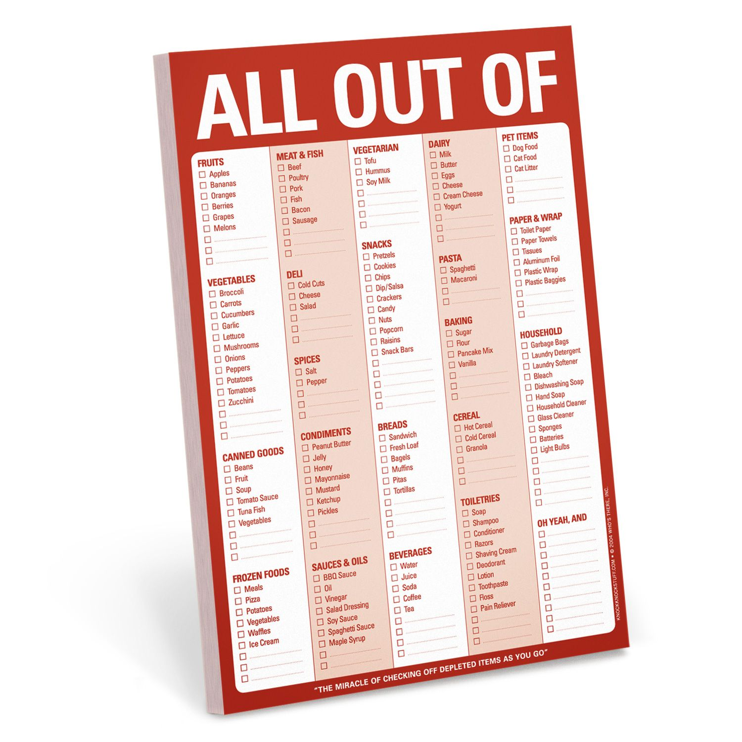 Office Supply Checklist Template All Out Of Pad Red  Knock Knock Magnets And Organizations