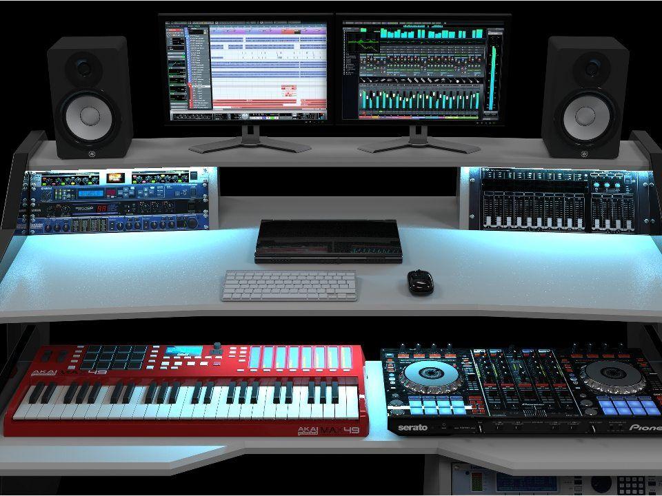 rgb led light option for studio desk studio desk workstation rh pinterest com