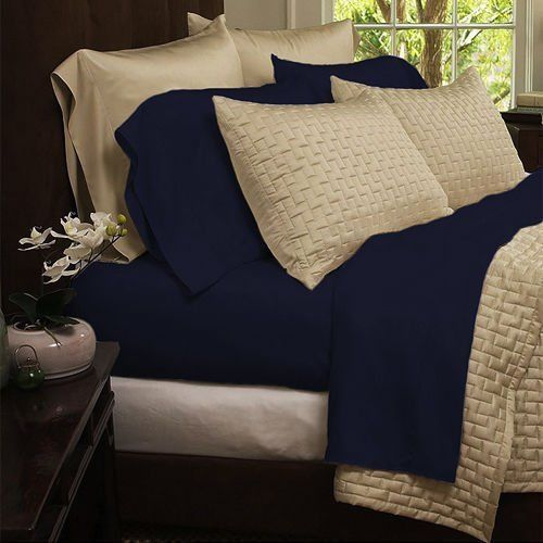 Bamboo Comfort 4 Piece Sheet Set 1800 Series Bedding King Navy