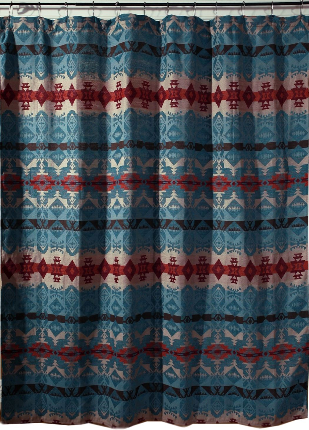 Turquoise Chamarro Fabric Southwest Shower Curtain Western Shower Curtain Southwestern Shower Curtains Southwest Shower Curtain