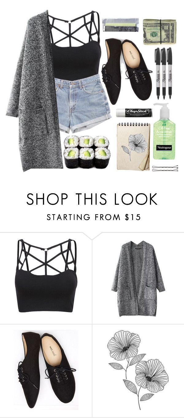 """Untitled #19"" by its-me-maddie ❤ liked on Polyvore featuring Levi's, Wet Seal, Sharpie, Chapstick and WallPops"