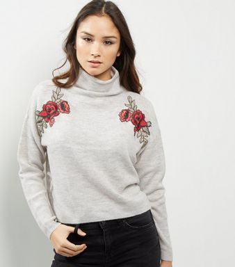 drop shipping best price color brilliancy Pale Grey Floral Embroidered Funnel Neck Sweater | New Look ...