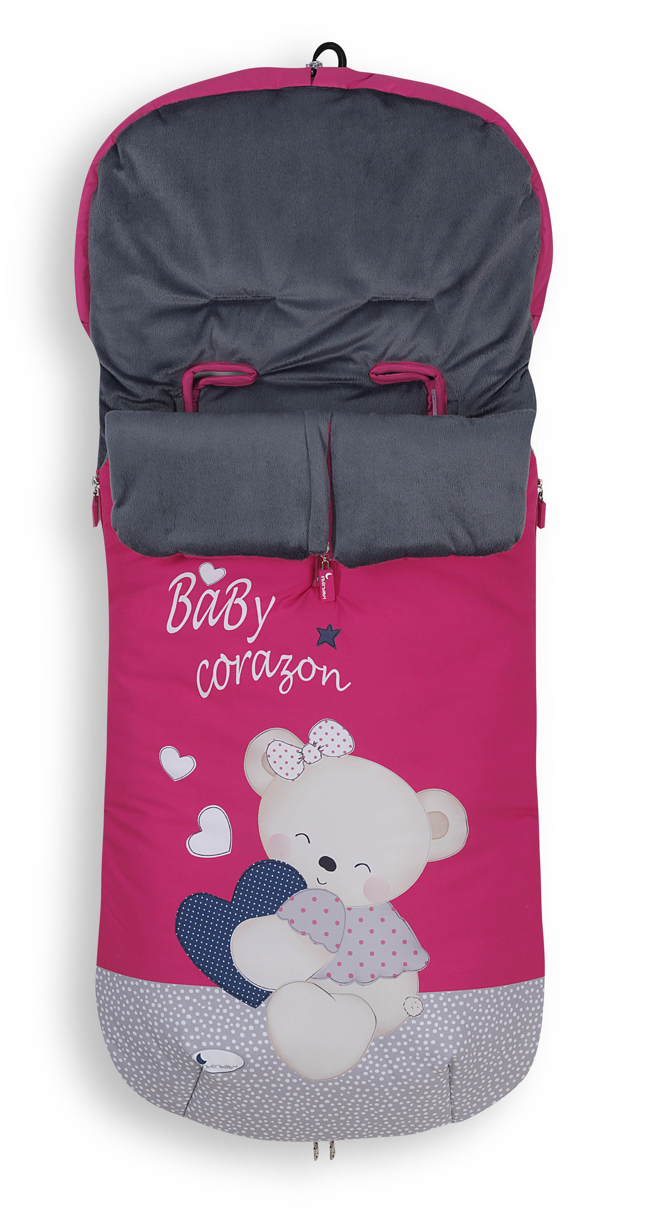 Saco Baby Coraz n en color Fucsia para sillas y carros de paseo
