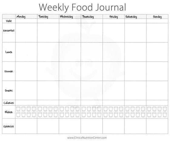 Weekly Food Journal Printable - Paul\u0027s House Nutrition
