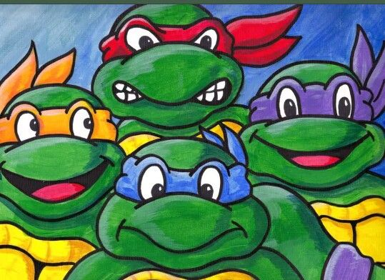 Ninja Turtle Turtle Painting Canvas Ninja Turtle Drawing