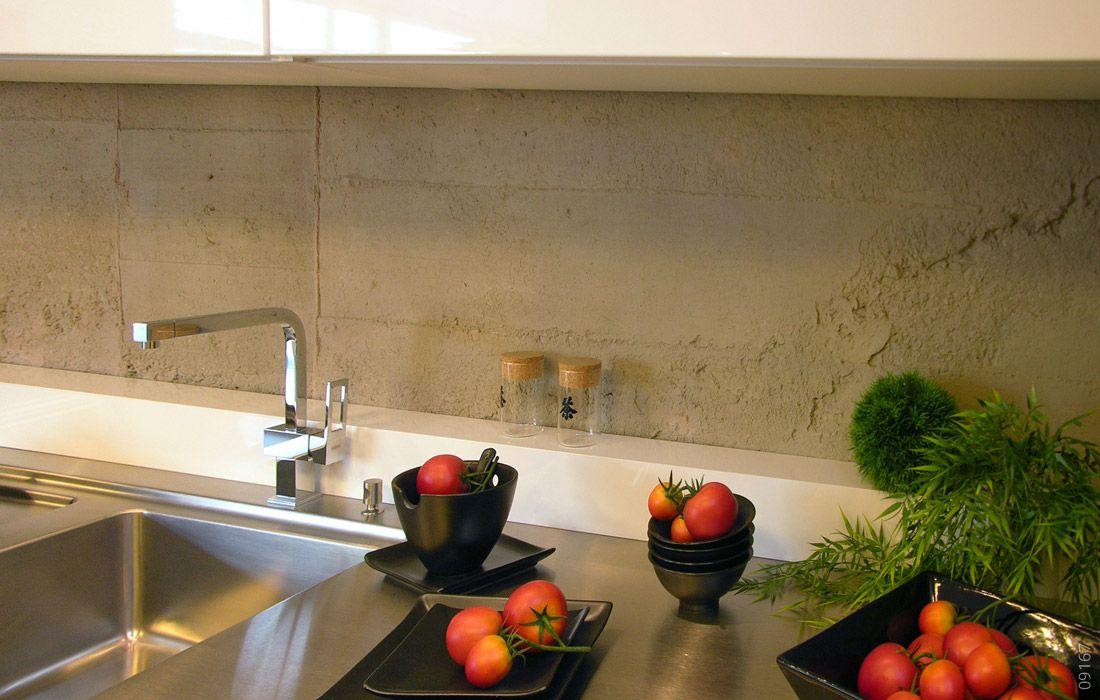 Betonoptik Küche Küche, Küchenrückwand und Steinpaneele