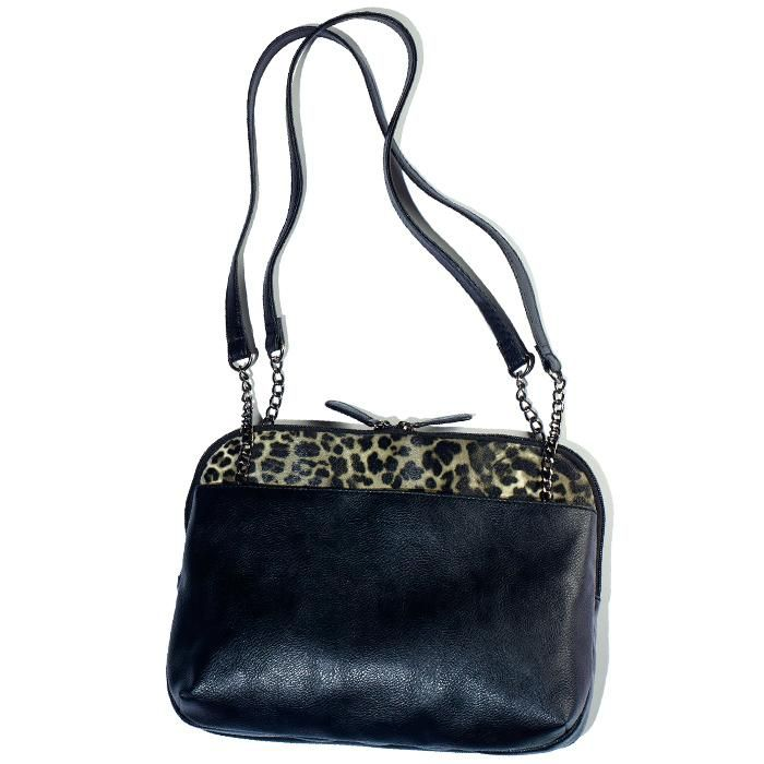 Leopard Print Trim Shoulder Bag
