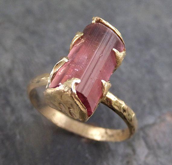 Raw Pink Tourmaline Rose Gold Ring Rough Uncut Pink Gemstone Promise