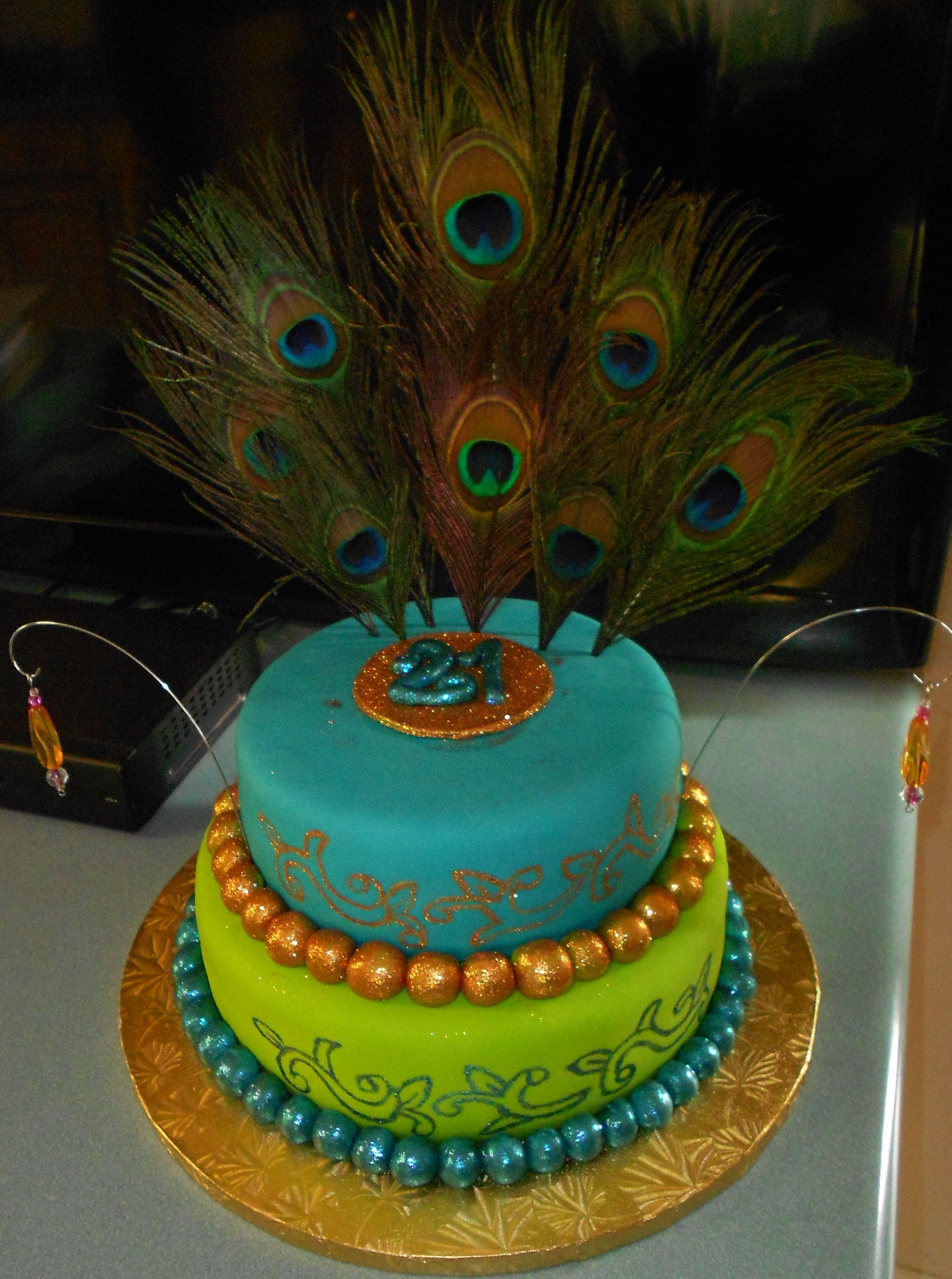 21st Birthday cake for my daughter Peacock feathers Teal and lime