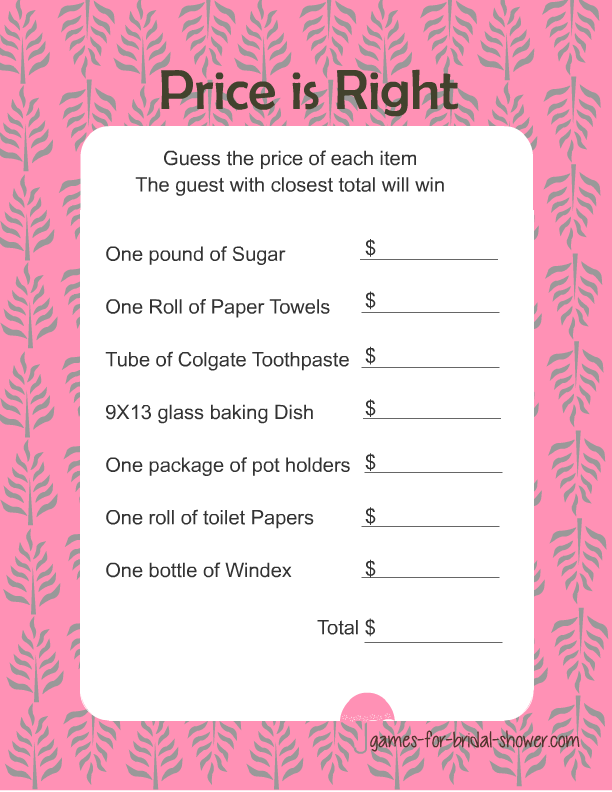 bridal shower games free to print free printable price is right game for bridal shower in pink color