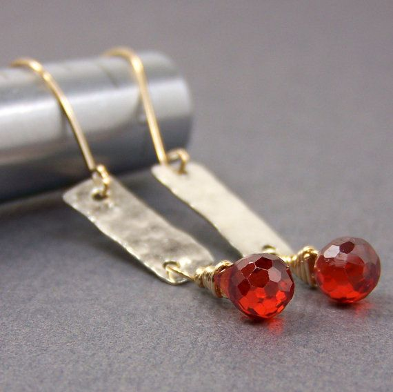 Hammered Gold & Silver Earrings  Red CZ by AmpleGoddess on Etsy