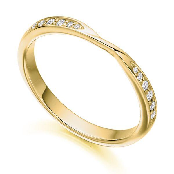 Ribbon Twist Diamond Wedding Ring in Yellow Gold Custom wedding