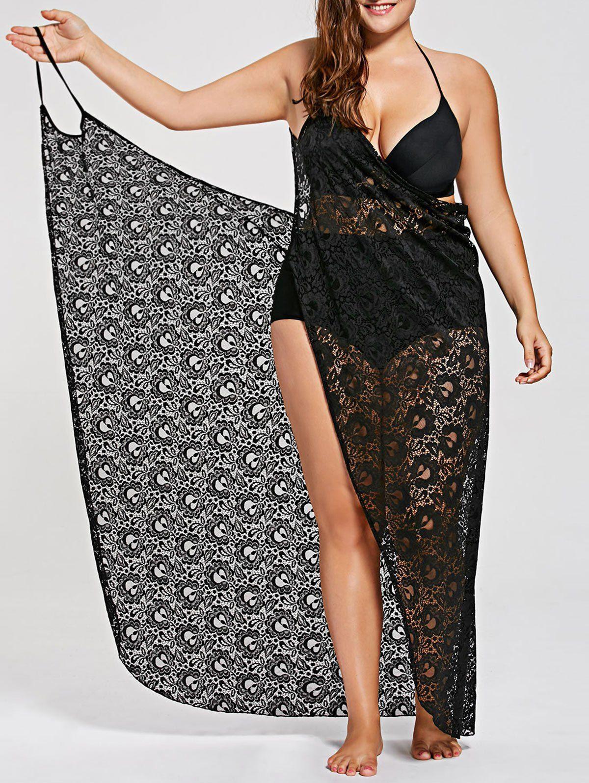 efc45f25f Plus Size Lace Cover Up Wrap Dress