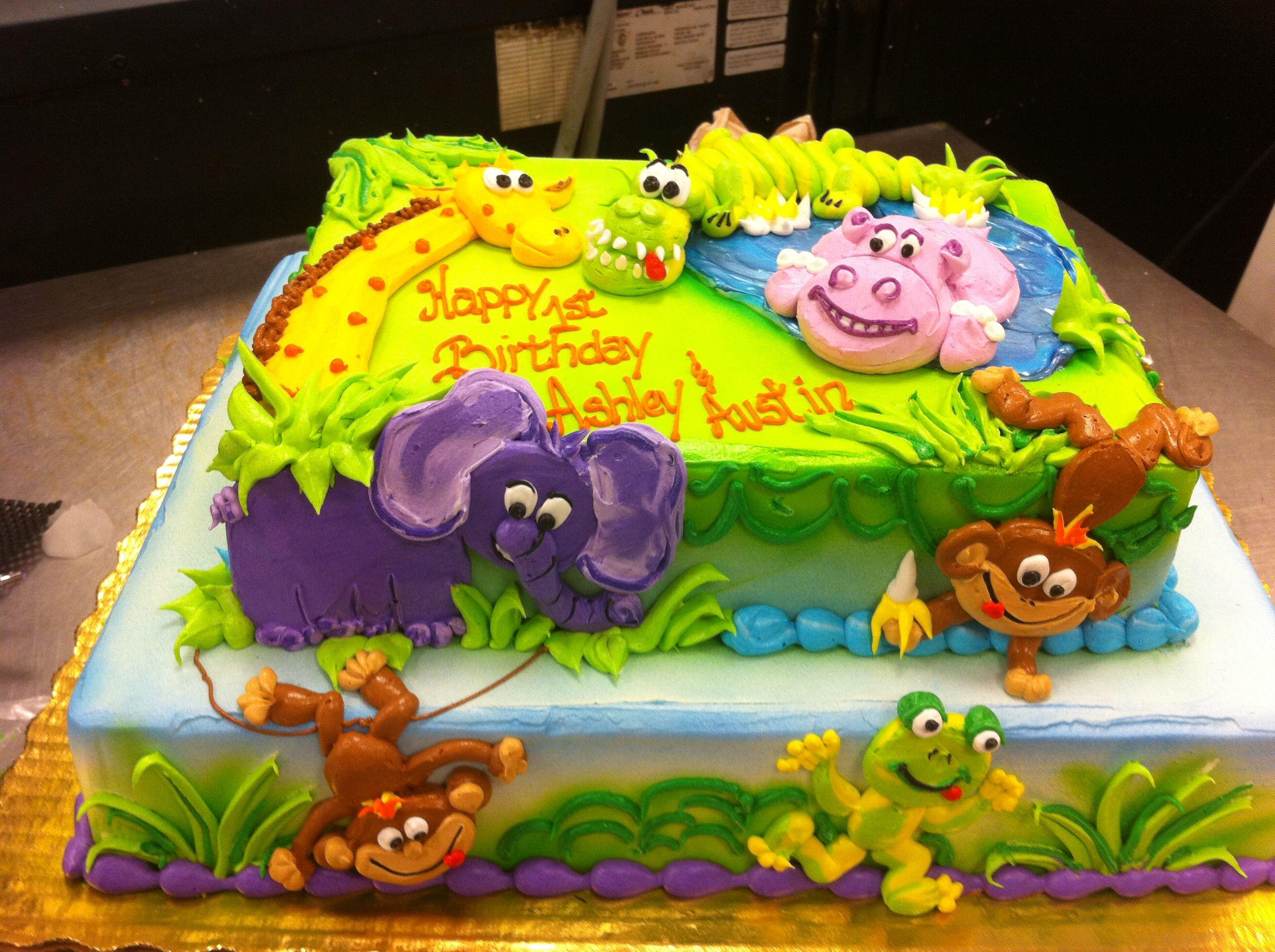 Jungle Animals With Images Simple Birthday Cake Birthday