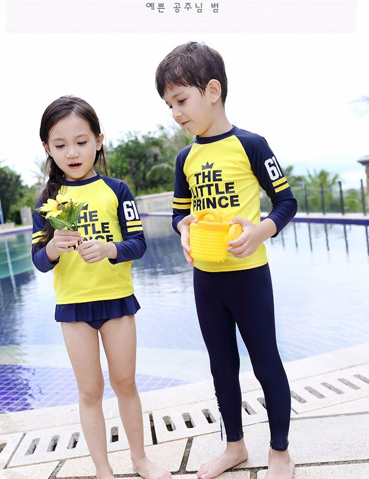5a760260b10b1 sexy 3-12 Years Old Two Piece Boys And Girls Long Sleeves Swimsuit ...