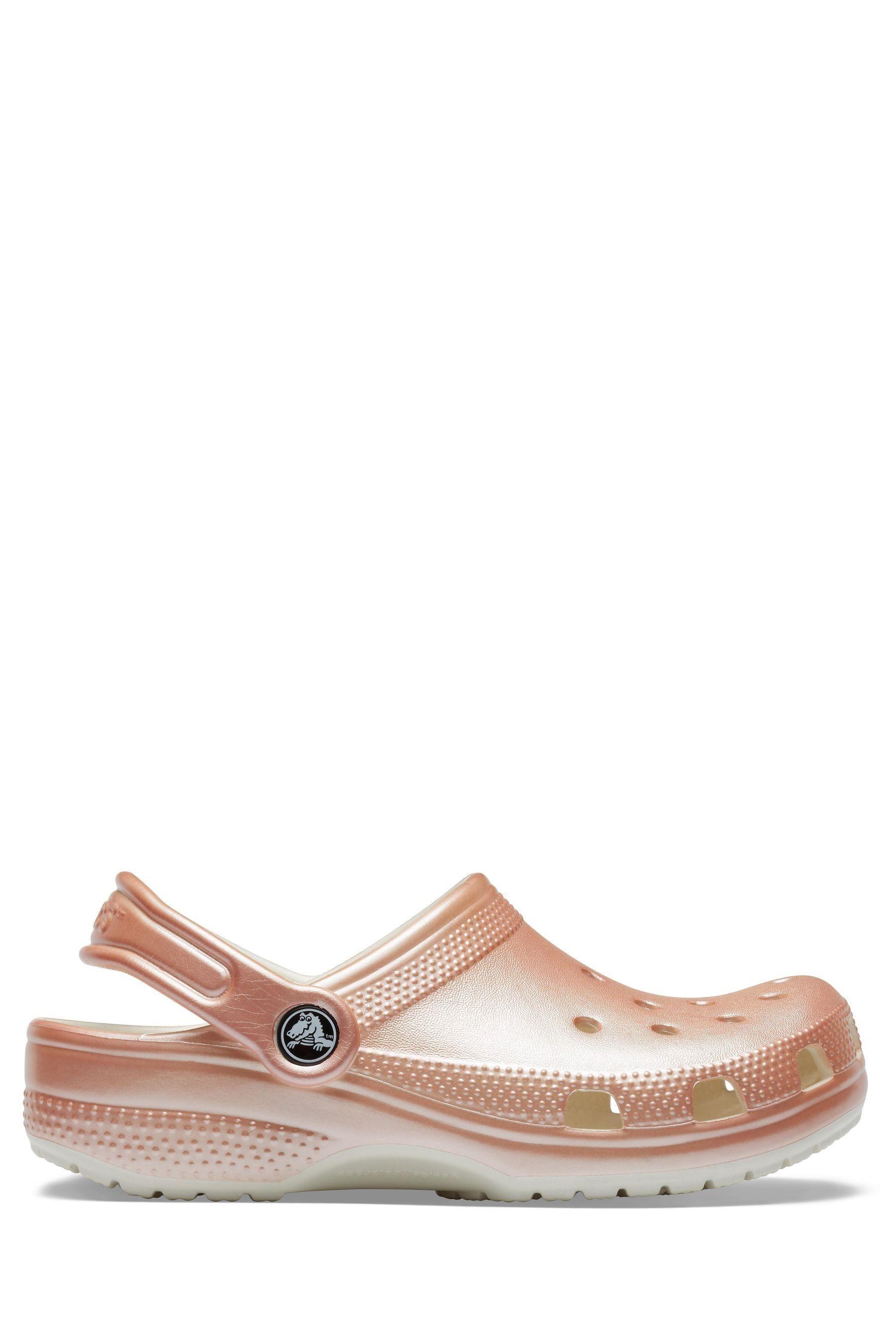Girls Crocs Rose Gold Metallic Clogs