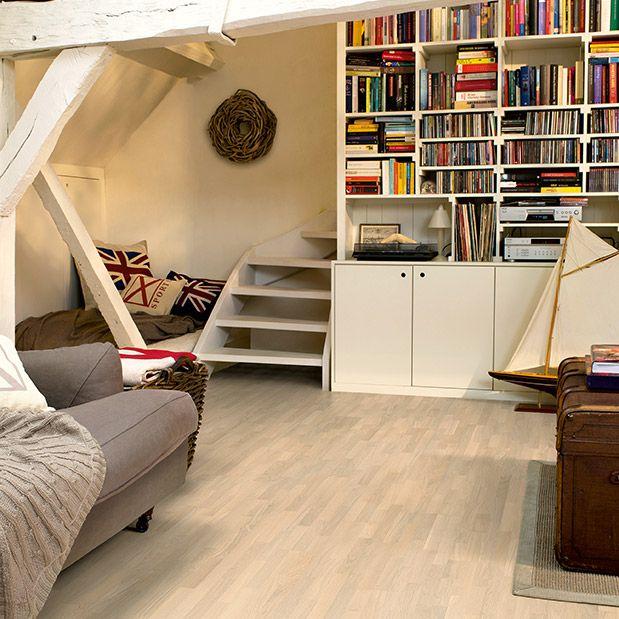 Oak cotton white matt, 3 strip - Inspiring interior - Quick-Step UK