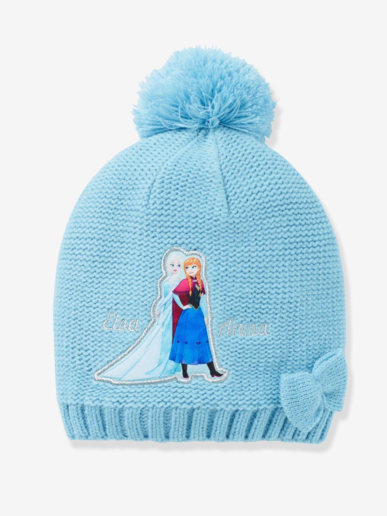 Bonnet fille Reine des neiges® à pompon bleu , Les 2 princesses complices  Elsa et