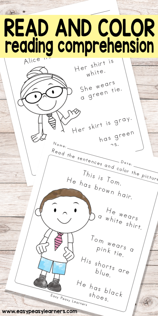Read & Color Reading Comprehension Worksheets for Grade 1 and ...