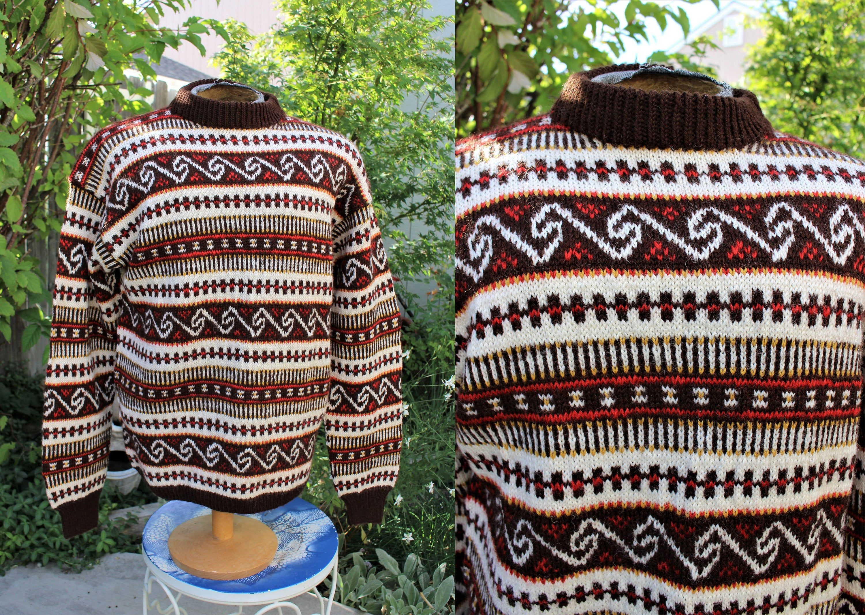 1980/'s Men/'s Norway Design Wool Pullover Sweater Stripes Hand Knitted Nordic Earth Tones Large Heavy Winter Ski Vintage Retro 1980/'s