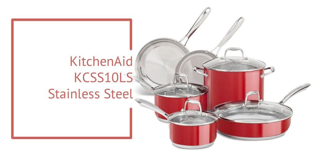 Kitchen aid kcss10ls stainless steel 10piece cookware set