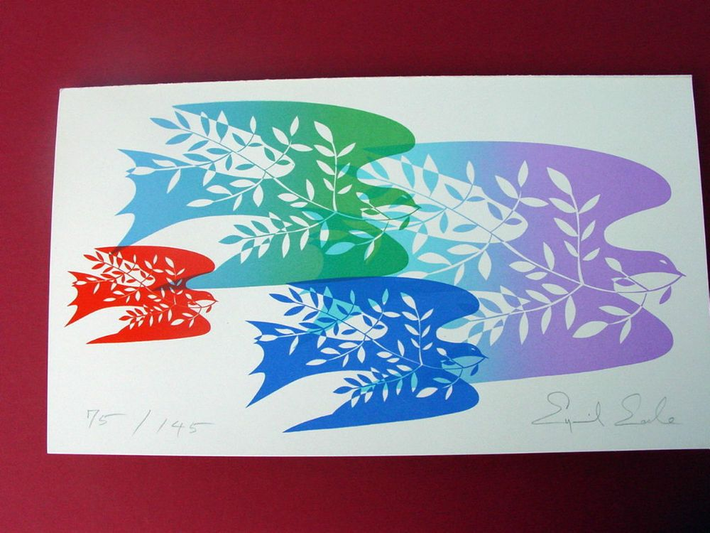 DOVES OF PEACE ~ EYVIND EARLE ~ PERSONAL CHRISTMAS CARD ~ LOVELY #Realism | Bird art print