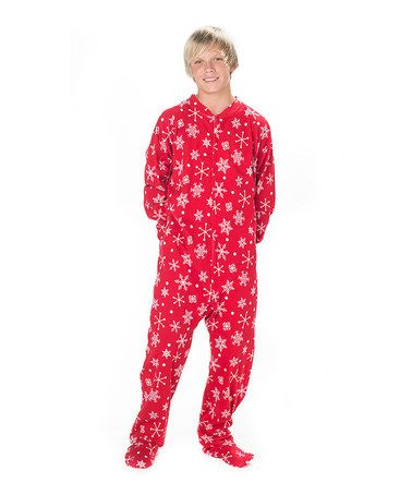 84484980d2b2 Look what I found on  zulily! Red   White Snowflake Footie Pajamas ...