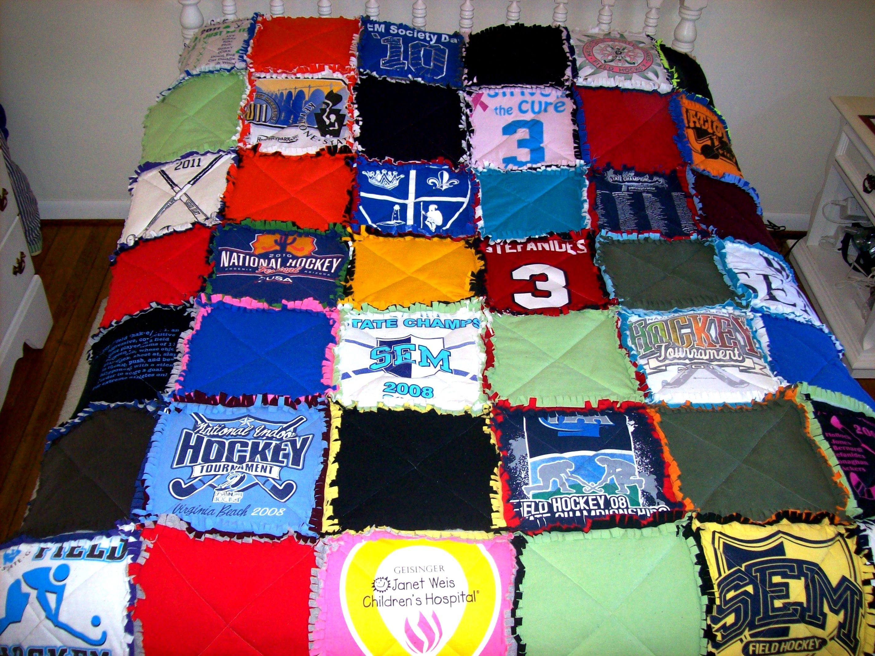 Custom tshirt quilt made from your own tees raggedy side
