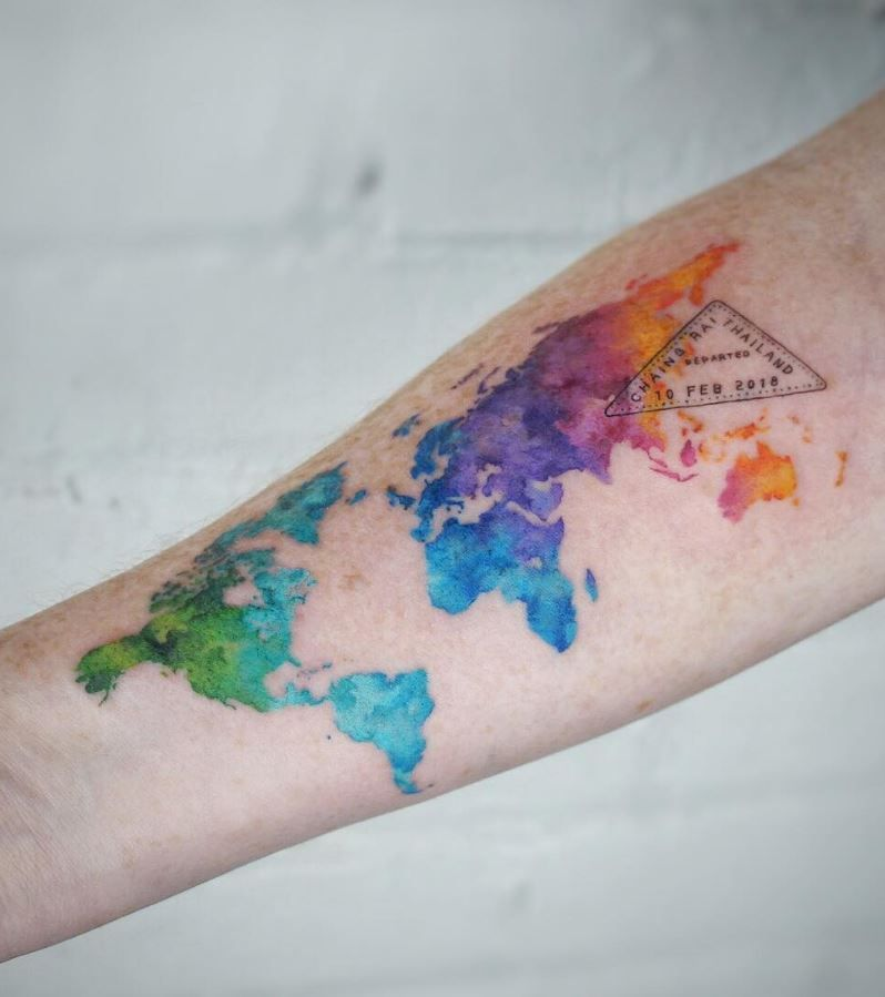 6050a1a62 Watercolor World Map Tattoo - InkStyleMag. Watercolor World Map Tattoo