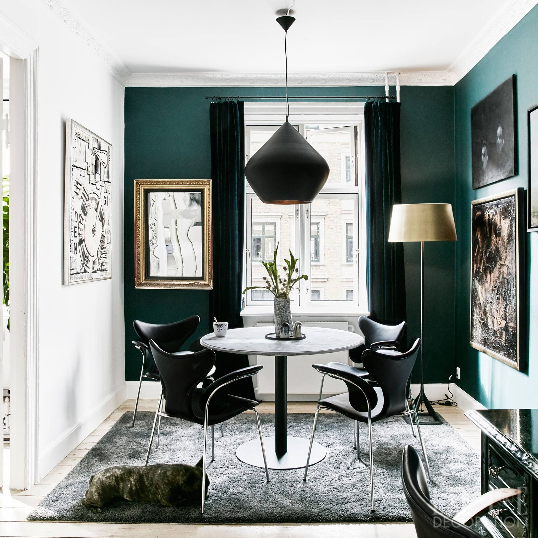 Dark Green Walls Mid Century Furniture And A Tom Dixon Beat Stout Pendant Lamp Equals Impos Green Dining Room Living Room Decor Modern Gold Living Room Decor