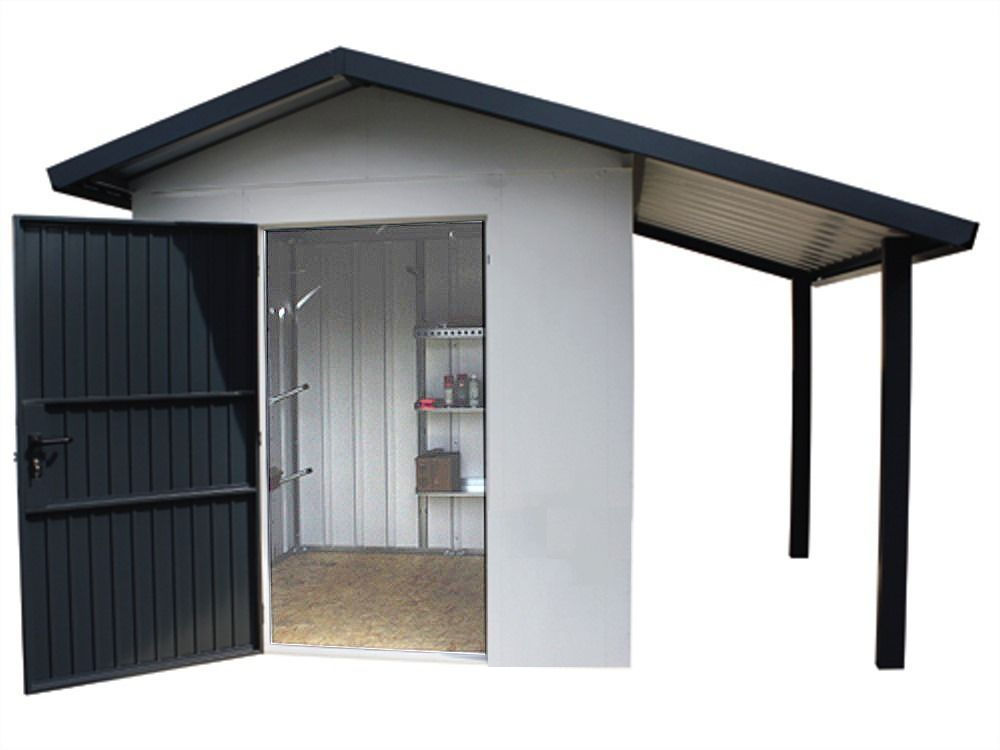 siebau metallger tehaus sgh sd 1 mit schleppdach carport m lltonnenboxen ger teh user. Black Bedroom Furniture Sets. Home Design Ideas