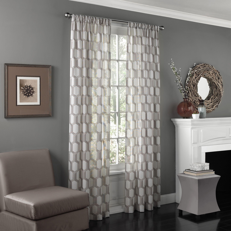 eclipse candice uv light filtering window sheer curtain panel - Window Sheers