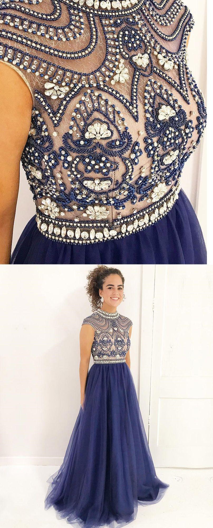 dc26bb57f68 High Neck Cap Sleeves Navy Blue Beaded Prom Evening Dress   promdresses promdresses2018 navybluepromdresses highneck beadedpromdresses eveningdresses2018   ...