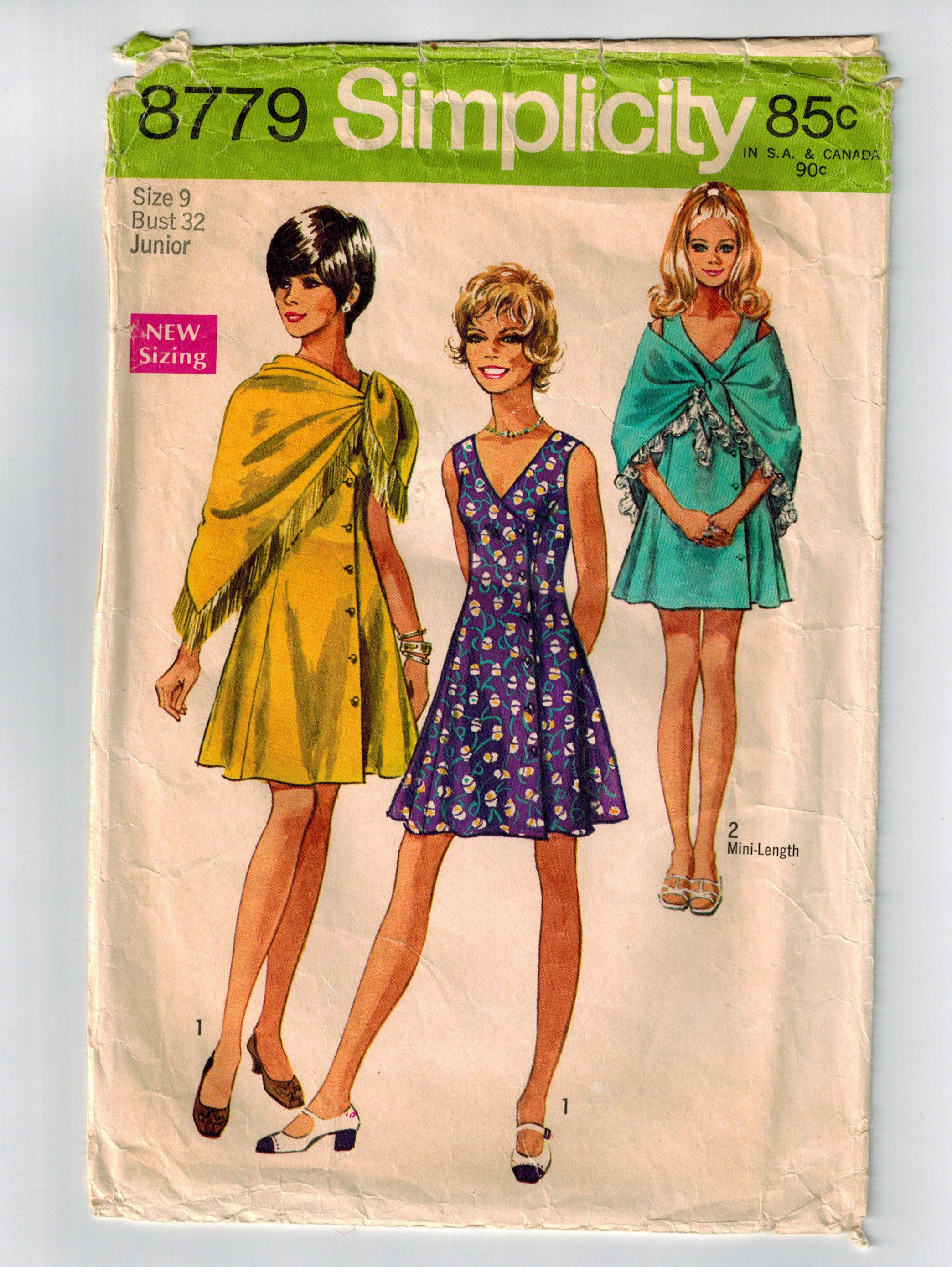 e0891d494 Vintage 70s Dress and Shawl Sewing Pattern Bust 32 Sleeveless Flared A-line  Dress Princess Seams V Neck Fringed Shawl Mini or Knee Length by ...