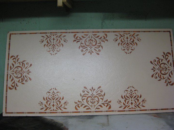 You Can Paint And Stencil A Plain White Drop Ceiling Tile