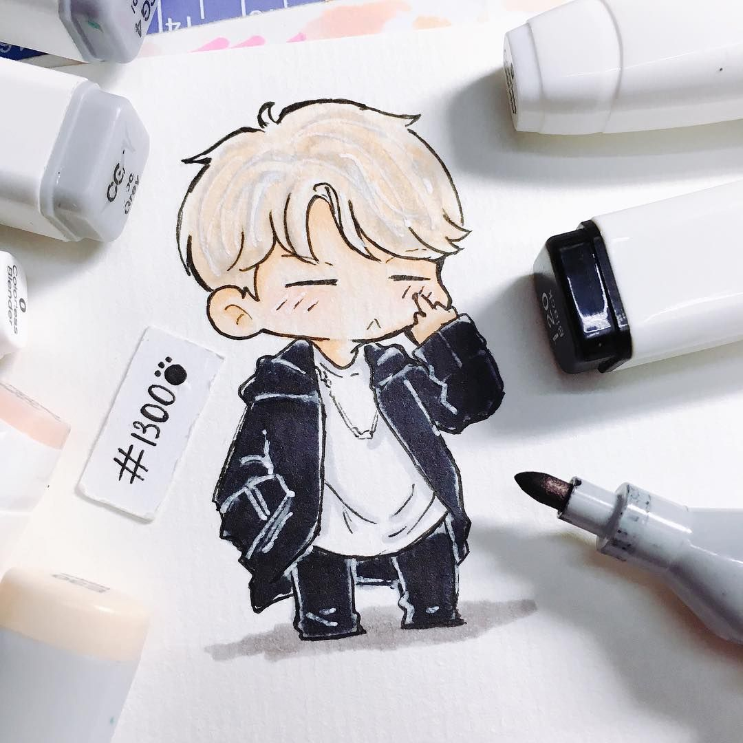 Cute asf chibi art of Suga from BTS! Bts desenho, Chibi