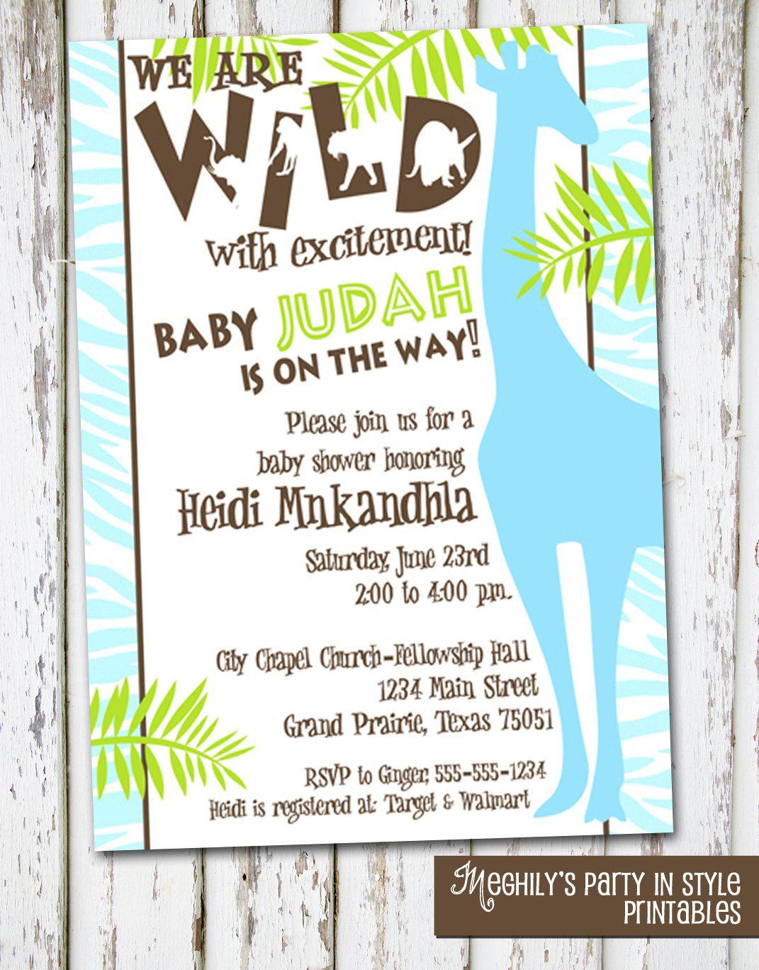 Jungle or Safari Theme Baby Shower Invitation   Baby shower themes ...