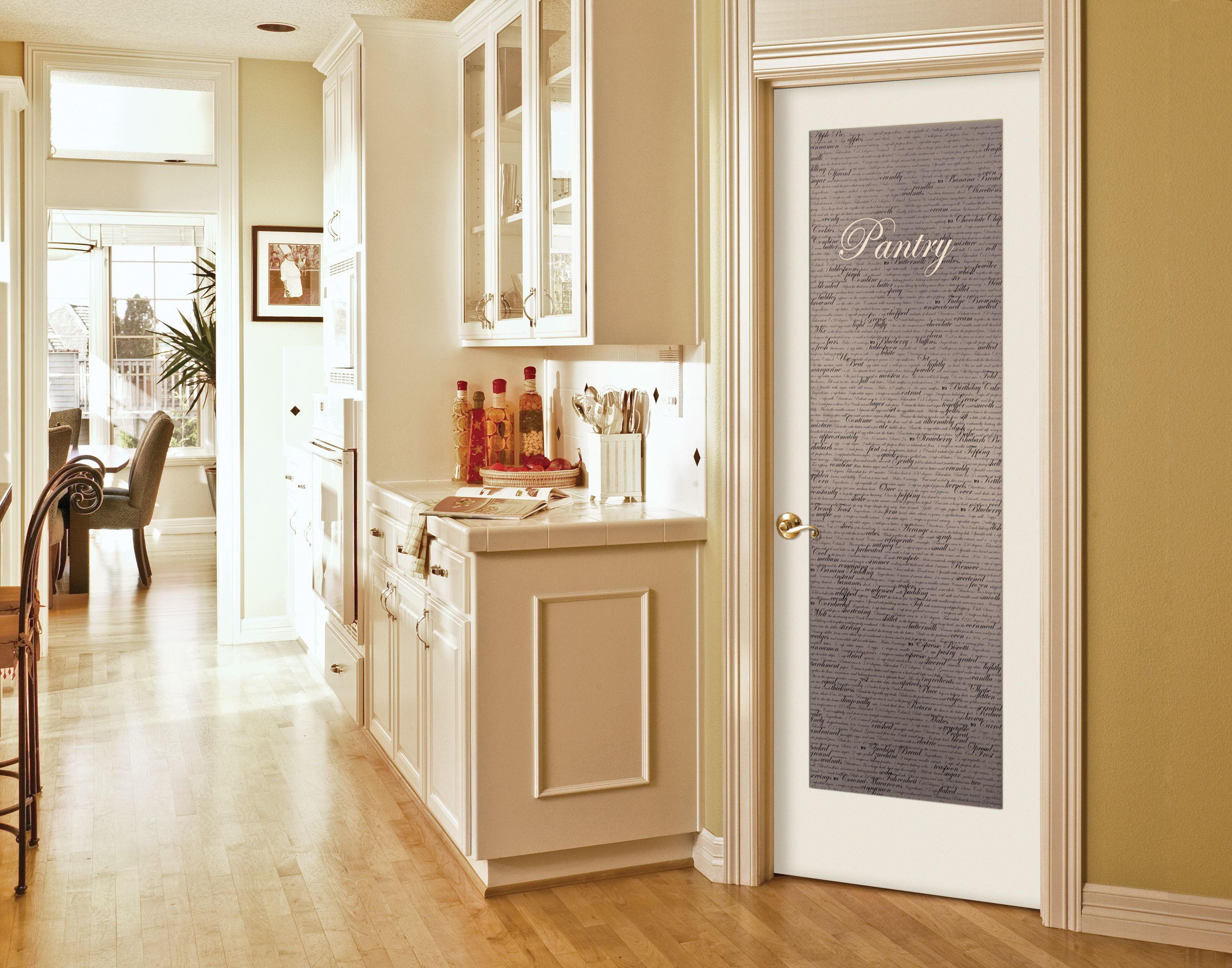 Superbe Cool Single Swing White Frozzen Pantry Door With Wooden Glass Door Kitchen  Cabinetry In Midcentury Kitchen