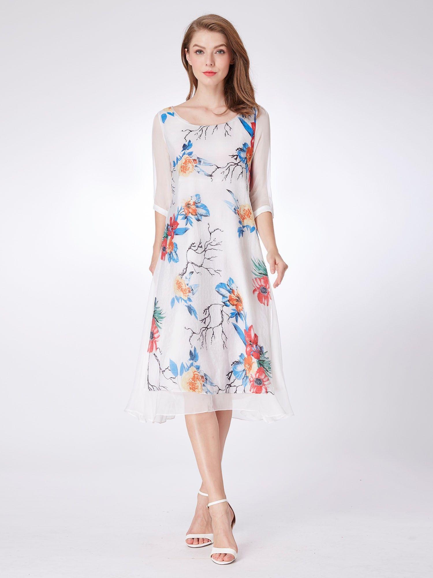 0477f41c3698 Alisa Pan Long Sleeve Floral Print Midi Dress