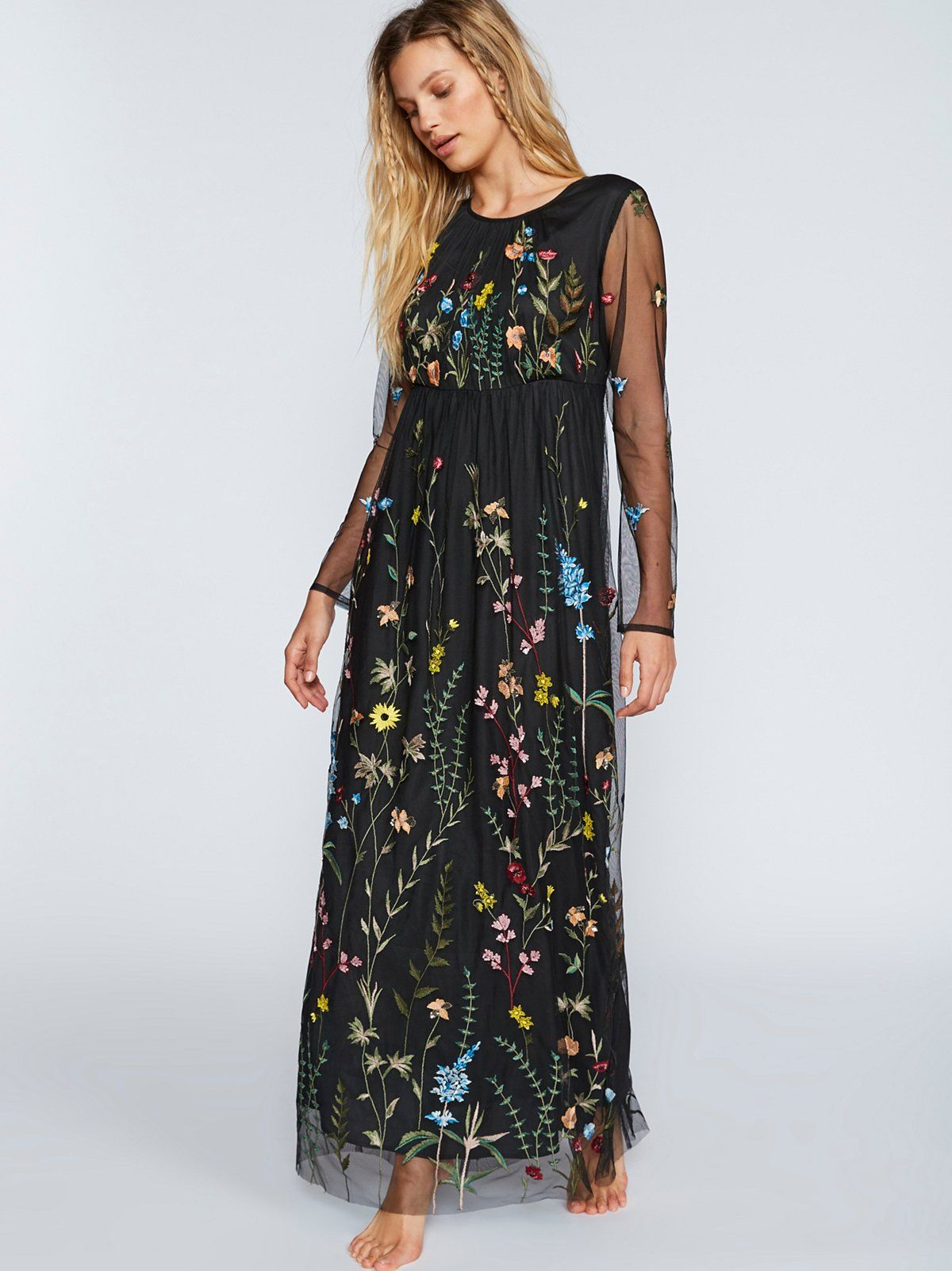 Yasmin Embroidered Maxi Dress Gorgeous Maxi Dress Featuring A Mesh Overlay Embellished With F Maxi Dress Long Sleeve Embroidered Dress Embroidered Maxi Dress [ 1602 x 1200 Pixel ]