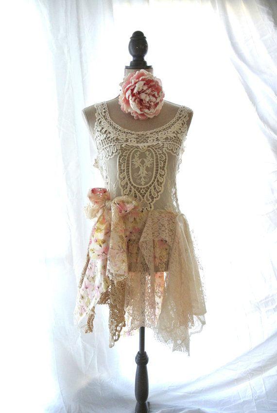Tunic Shabby Lace Boho Chic Top Romantic Lagenlook